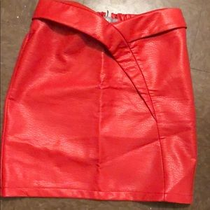 Red Faux leather skirt